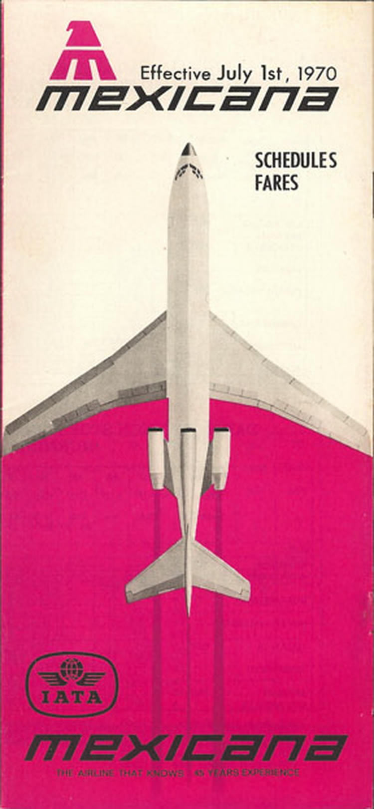 vintage airline timetable for MEXICANA Airlines