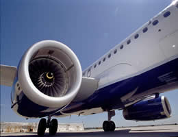Jet Blue Aircraft Engine