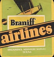 old braniff airlines timetable