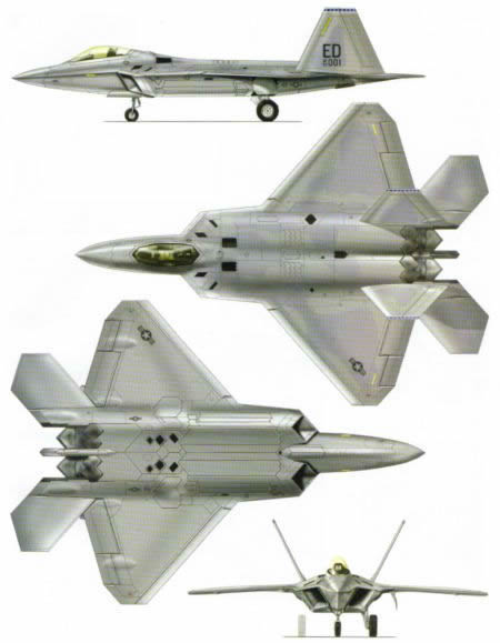 4 picture view of f22 raptor