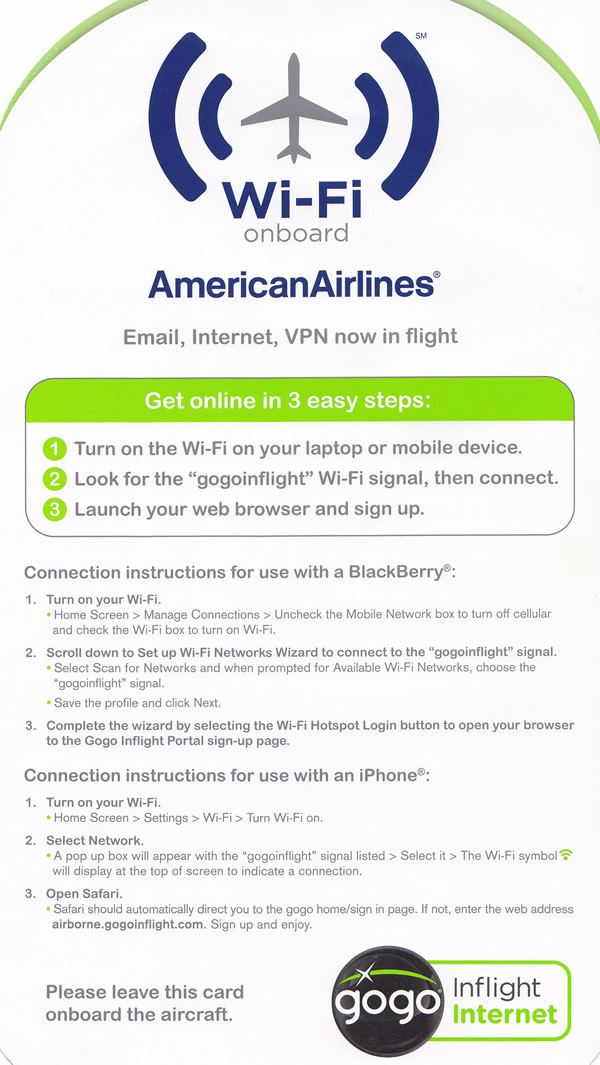 american airlines wi-fi onboard card front