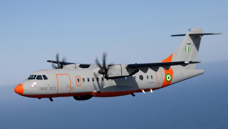 ATR 42 Military Airplane In Flight Nigeria