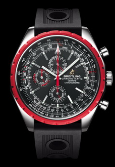 large red black and silver breitling watch