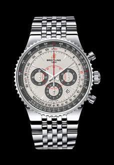 silver breitling aviator watch