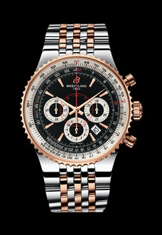 gold white and silver breitling watch