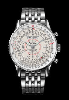 silver breitling flight watch