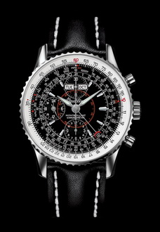 silver and black breitling watch