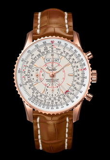 gold white and brown breitling watch