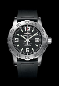 silver black breitling flight watch