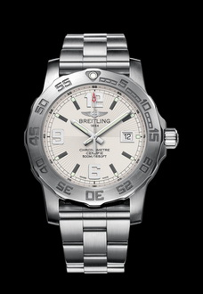 silver and white breitling watch