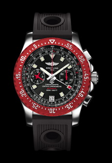 large red and black breitling watch