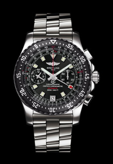 silver and black breitling watch with chronograph
