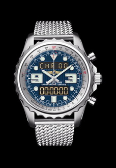 silver and blue chronograph breitling watch
