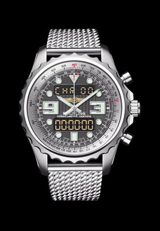 silver and matte black breitling watch