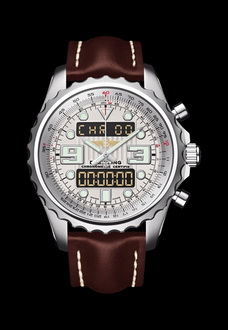 silver breitling watch with brown wrist strap