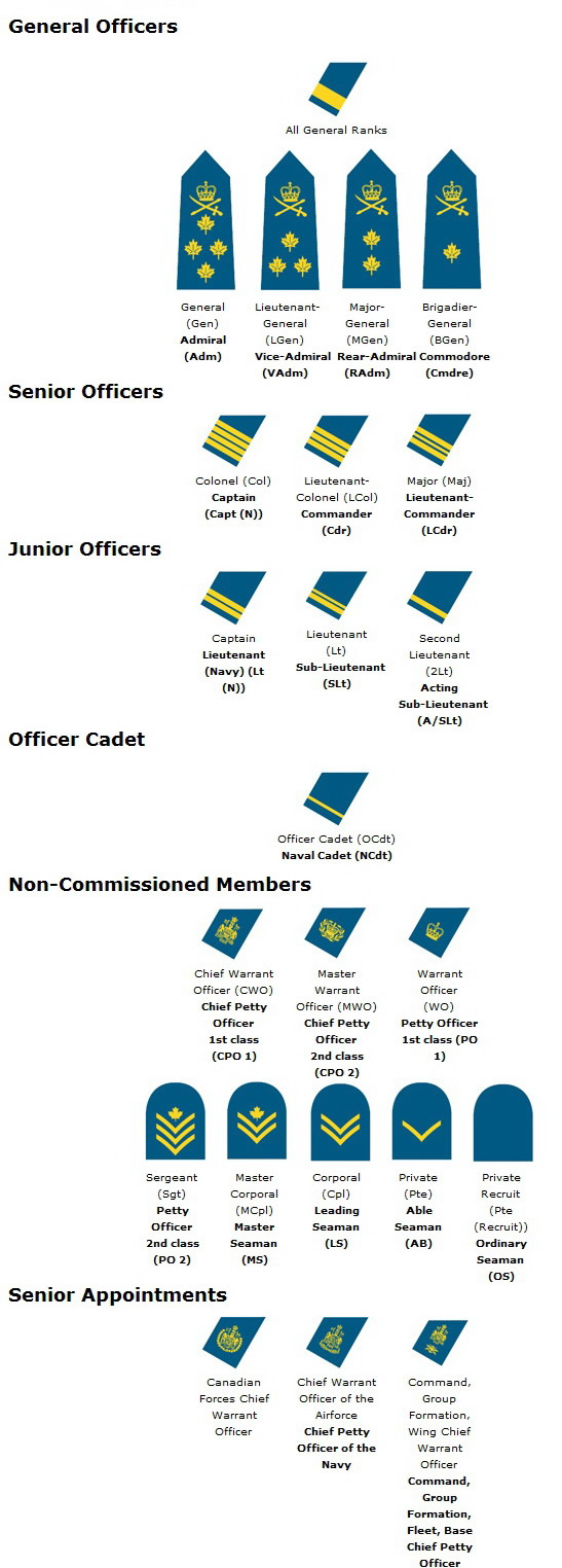 canada air force rank structure chart insignia