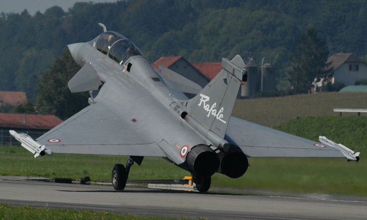 two seater french rafale fighter takeoff photo