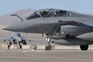 2 seater rafale taxiing on runway