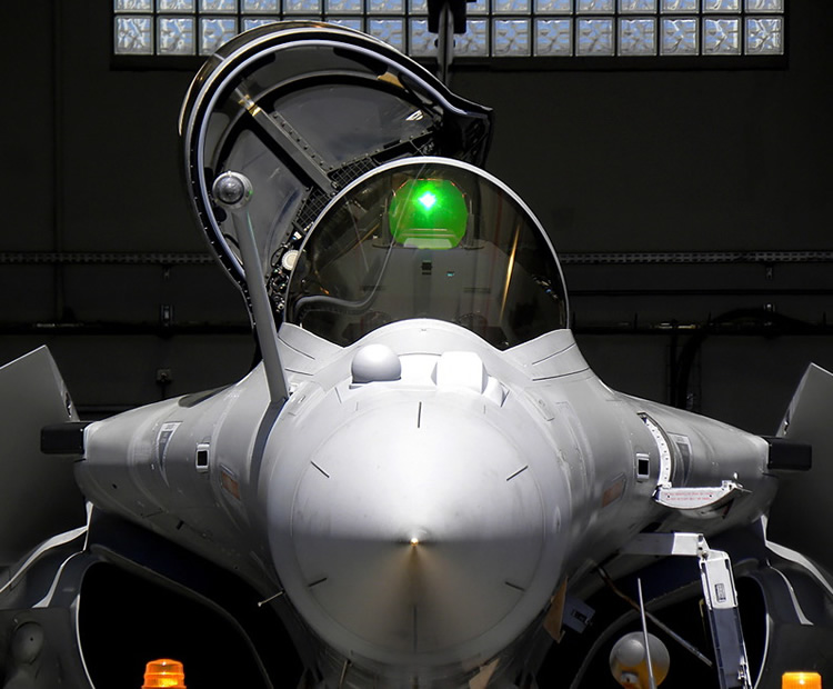 nose shot of the rafale military jet fighter by dassault aviation