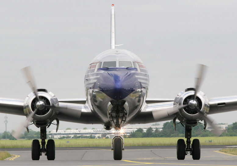 douglas dc-6 airplane front view