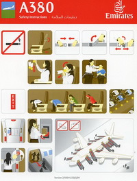 Emirates Airbus A380 Safety Card