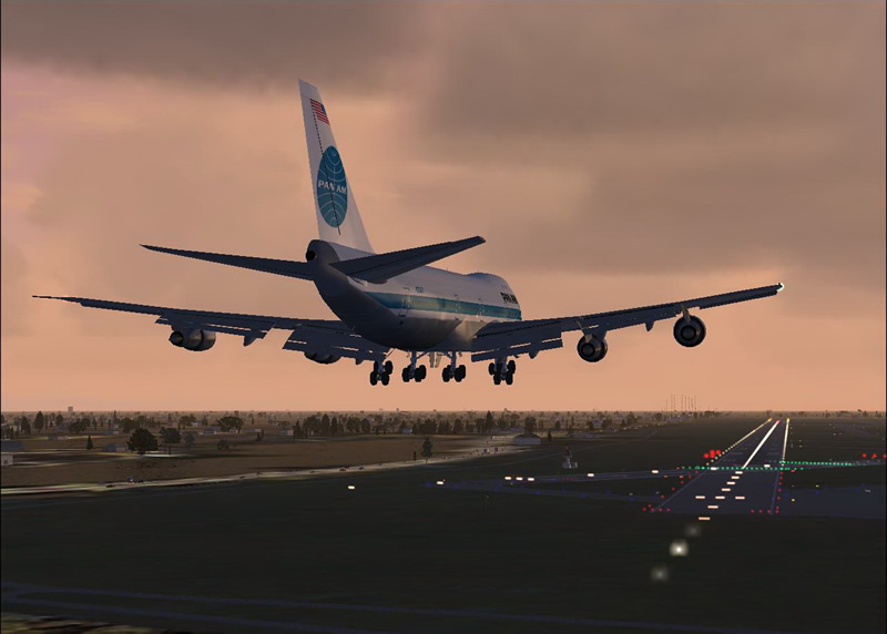 ... Lands On A Fully Lighted Runway In The Flight Sim Game From Microsoft