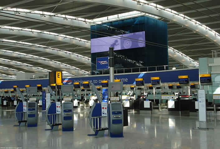 interior view of heathrow airport