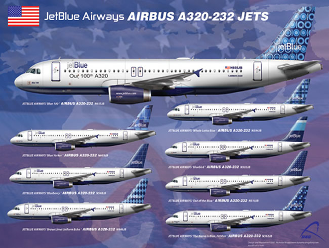 jetblue airways aircraft type airliner chart