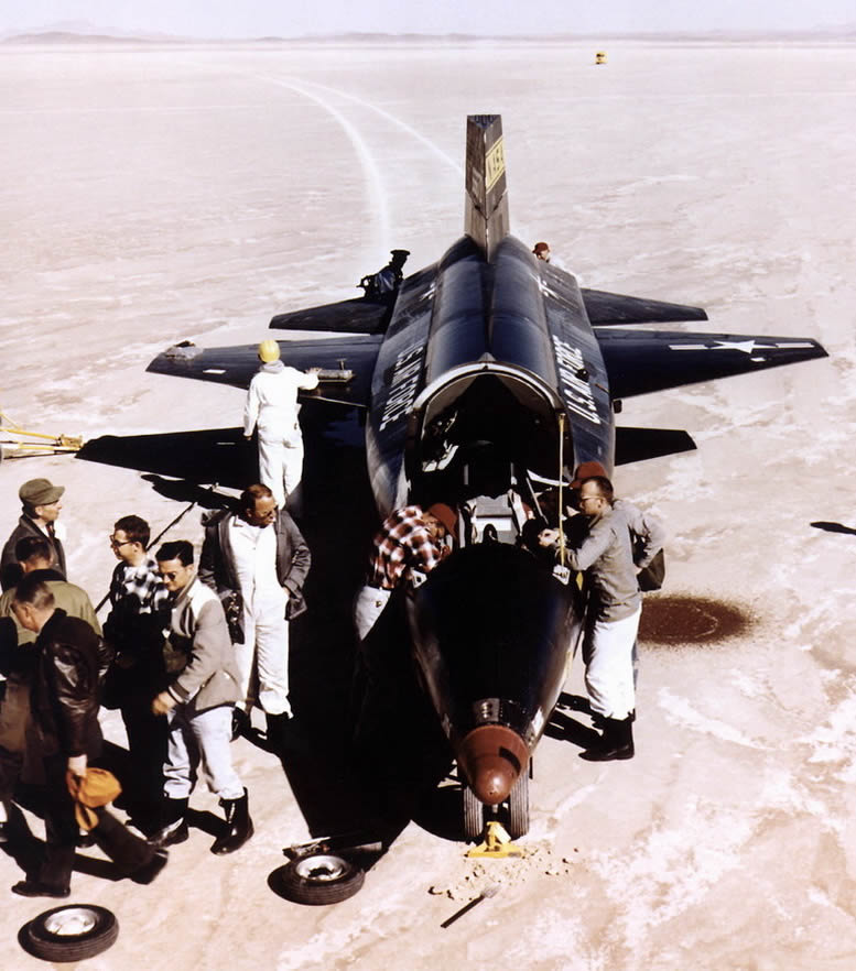 North American X-15 NASA USAF Experimental Jet Aircraft being serviced