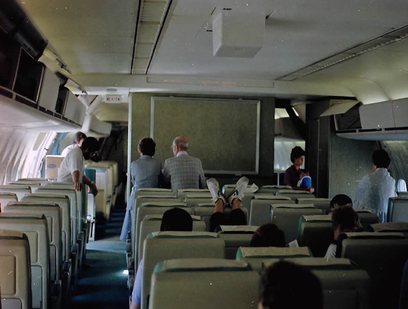 inside a northwest orient dc-10 from the 1970s