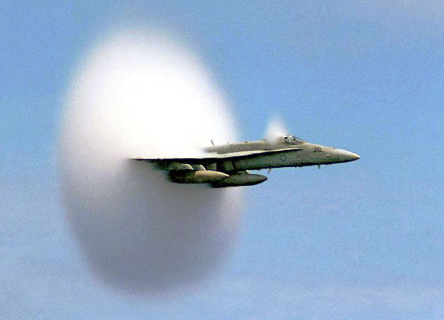 aircraft entering the speed of sound - sonic boom picture