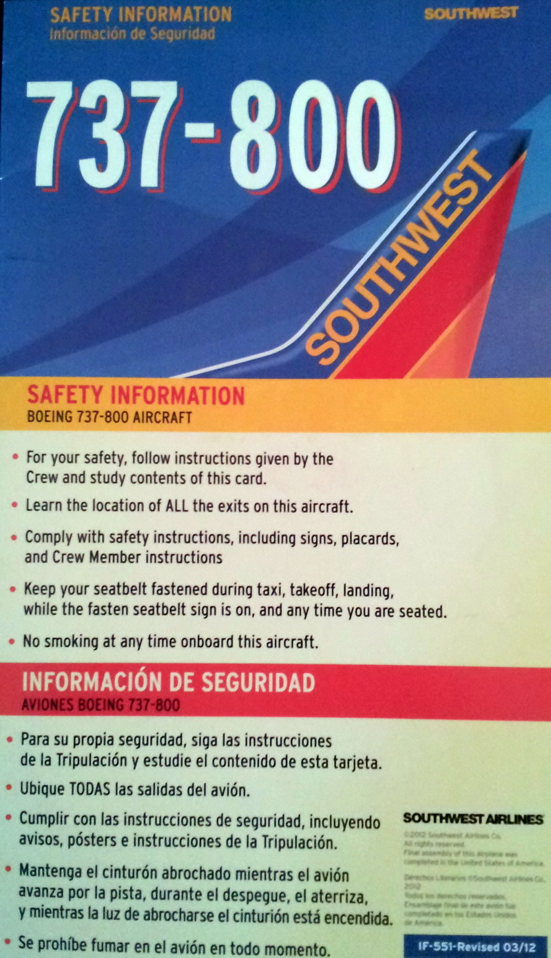 southwest airlines boeing 737-800 safety card