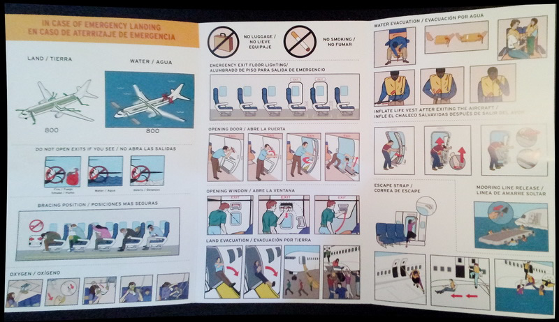 southwest airlines boeing 737-800 safety card inside