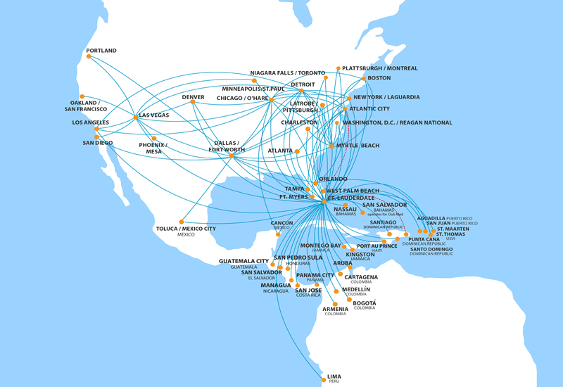 spirit airlines route map