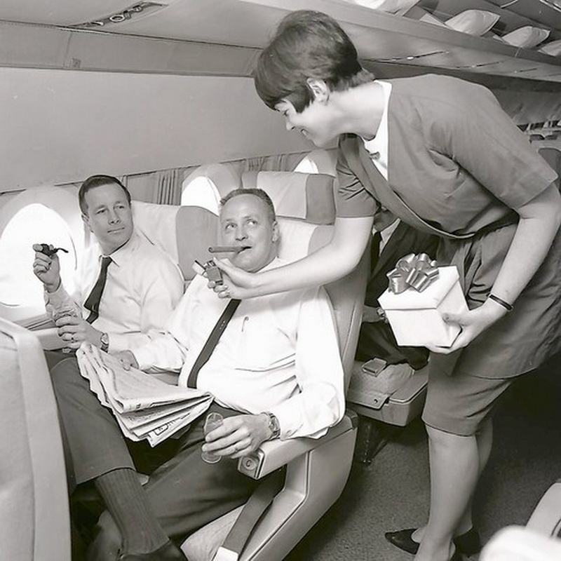height of chauvinism male-only Executive Flights ran 1953-70 on United Air Lines Caravelles check the triangular window