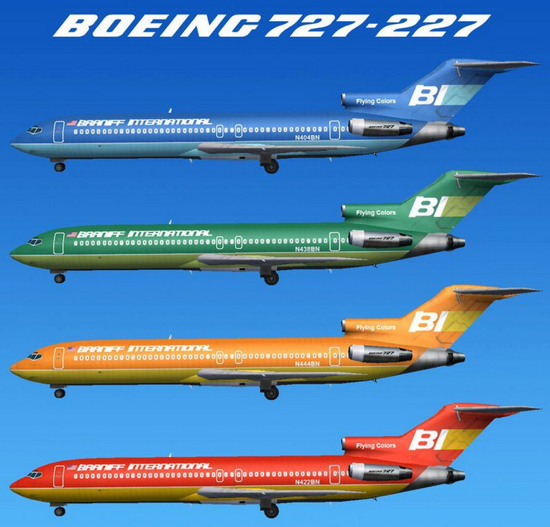 braniff airlines boeing 727 airliners