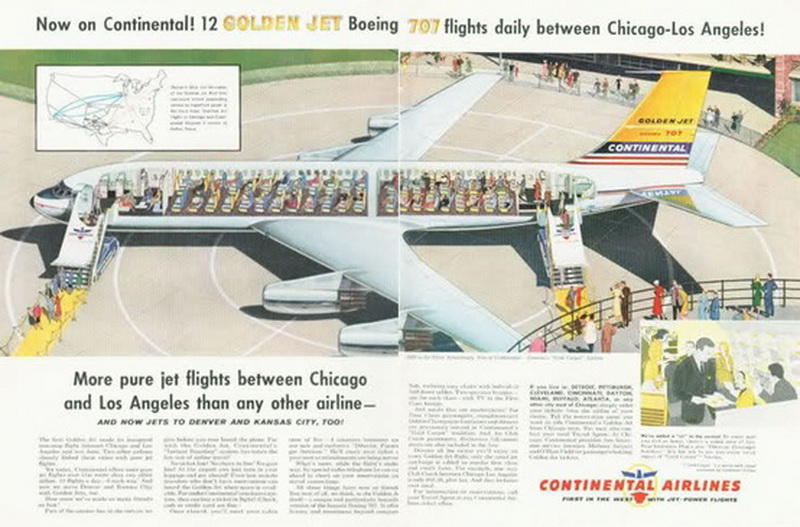 continental airlines boeing 707 golden jet ad