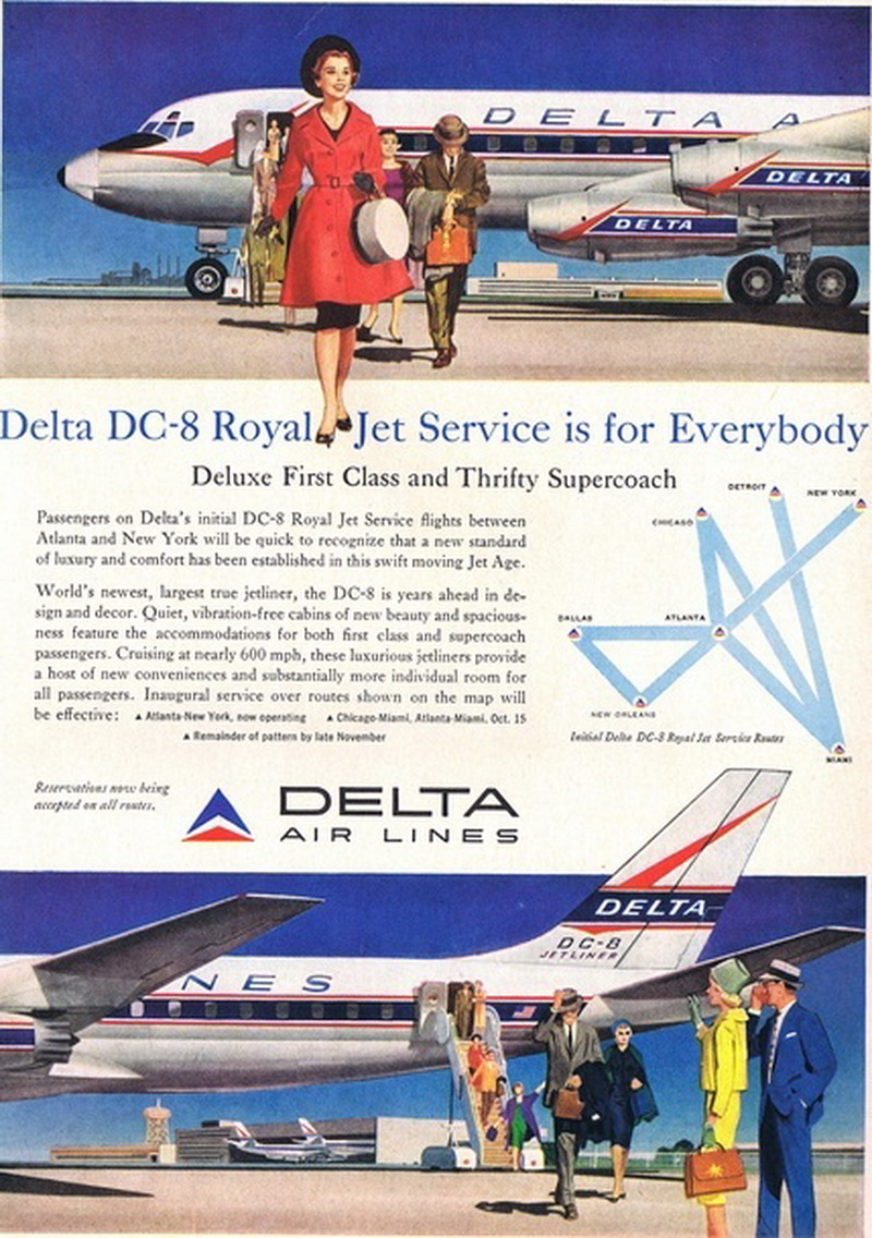delta airlines dc-8 royal service ad