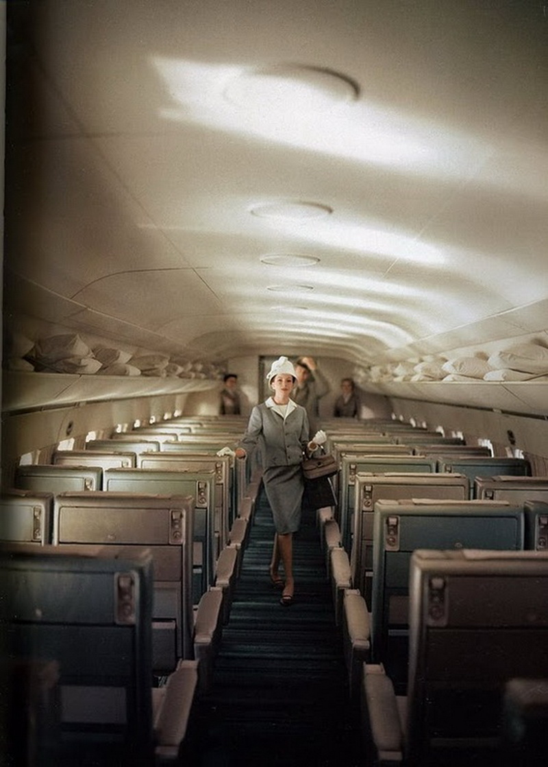 vintage interior airliner with passengers